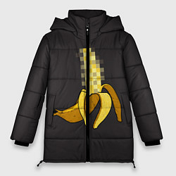 Женская зимняя 3D-куртка с капюшоном с принтом XXX Banana, цвет: 3D-черный, артикул: 10120114406071 — фото 1