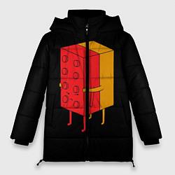 Женская зимняя 3D-куртка с капюшоном с принтом Влюбленное лего, цвет: 3D-черный, артикул: 10124114906071 — фото 1