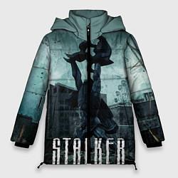 Женская зимняя 3D-куртка с капюшоном с принтом STALKER: Pripyat, цвет: 3D-черный, артикул: 10135205506071 — фото 1