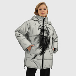 Женская зимняя 3D-куртка с капюшоном с принтом Дикий орел, цвет: 3D-черный, артикул: 10135213906071 — фото 2