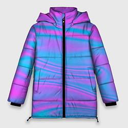 Женская зимняя 3D-куртка с капюшоном с принтом Глянцевые линии, цвет: 3D-черный, артикул: 10136600906071 — фото 1