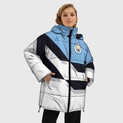 Женская зимняя 3D-куртка с капюшоном с принтом Manchester City FC: White style, цвет: 3D-черный, артикул: 10136813906071 — фото 2