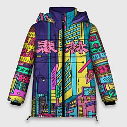 Женская зимняя 3D-куртка с капюшоном с принтом Токио сити, цвет: 3D-черный, артикул: 10139888106071 — фото 1