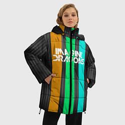 Женская зимняя 3D-куртка с капюшоном с принтом Imagine Dragons: Evolve Lines, цвет: 3D-черный, артикул: 10140513106071 — фото 2