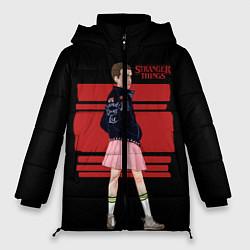 Женская зимняя 3D-куртка с капюшоном с принтом Очень странные дела, цвет: 3D-черный, артикул: 10141030906071 — фото 1