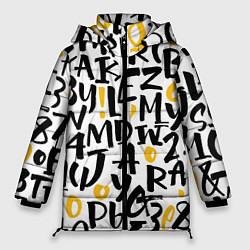 Женская зимняя 3D-куртка с капюшоном с принтом Letters bombing, цвет: 3D-черный, артикул: 10142799106071 — фото 1