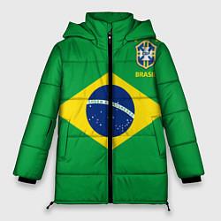 Женская зимняя 3D-куртка с капюшоном с принтом Сборная Бразилии: зеленая, цвет: 3D-черный, артикул: 10143139706071 — фото 1