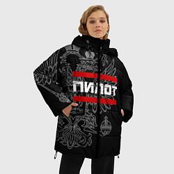 Куртка зимняя женская Пилот: герб РФ цвета 3D-черный — фото 2