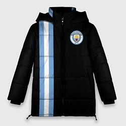 Женская зимняя 3D-куртка с капюшоном с принтом Манчестер Сити, цвет: 3D-черный, артикул: 10147107706071 — фото 1