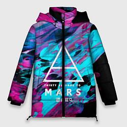 Женская зимняя 3D-куртка с капюшоном с принтом 30 STM: Neon Colours, цвет: 3D-черный, артикул: 10150658506071 — фото 1