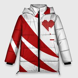 Женская зимняя 3D-куртка с капюшоном с принтом Игра в сердца, цвет: 3D-черный, артикул: 10152698106071 — фото 1