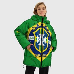 Женская зимняя 3D-куртка с капюшоном с принтом CBF Brazil, цвет: 3D-черный, артикул: 10153088306071 — фото 2