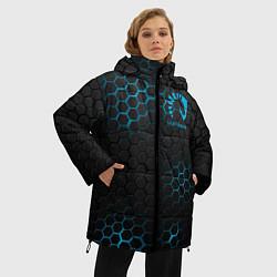 Женская зимняя 3D-куртка с капюшоном с принтом Team Liquid: Carbon Style, цвет: 3D-черный, артикул: 10154882906071 — фото 2