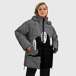 Женская зимняя 3D-куртка с капюшоном с принтом Унесенные призраками, цвет: 3D-черный, артикул: 10155872306071 — фото 2