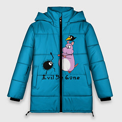 Женская зимняя 3D-куртка с капюшоном с принтом Унесённые призраками, цвет: 3D-черный, артикул: 10155954506071 — фото 1