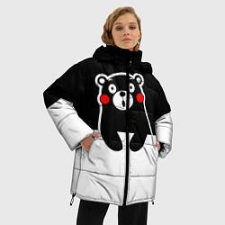 Женская зимняя 3D-куртка с капюшоном с принтом Kumamon Surprised, цвет: 3D-черный, артикул: 10162547706071 — фото 2