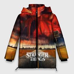 Женская зимняя 3D-куртка с капюшоном с принтом Stranger Things: Road to Dream, цвет: 3D-черный, артикул: 10167405106071 — фото 1