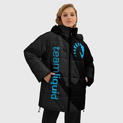 Женская зимняя 3D-куртка с капюшоном с принтом TEAM LIQUID, цвет: 3D-черный, артикул: 10172456706071 — фото 2