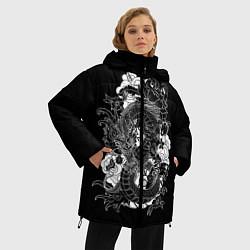 Женская зимняя 3D-куртка с капюшоном с принтом Японский дракон, цвет: 3D-черный, артикул: 10173336906071 — фото 2