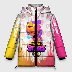 Женская зимняя 3D-куртка с капюшоном с принтом BRAWL STARS SANDY, цвет: 3D-черный, артикул: 10207900306071 — фото 1