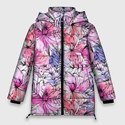 Женская зимняя 3D-куртка с капюшоном с принтом Акварельные цветы, цвет: 3D-черный, артикул: 10209760306071 — фото 1