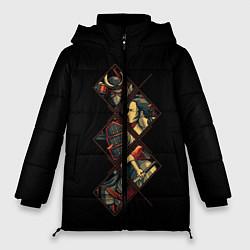 Женская зимняя 3D-куртка с капюшоном с принтом БИТВА САМУРАЯ, цвет: 3D-черный, артикул: 10214385106071 — фото 1