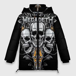 Женская зимняя 3D-куртка с капюшоном с принтом Megadeth, цвет: 3D-черный, артикул: 10218180506071 — фото 1