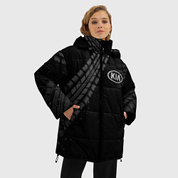 Женская зимняя 3D-куртка с капюшоном с принтом KIA, цвет: 3D-черный, артикул: 10246245706071 — фото 2