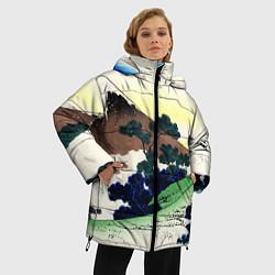 Женская зимняя 3D-куртка с капюшоном с принтом ЯПОНИЯ, цвет: 3D-черный, артикул: 10246798906071 — фото 2