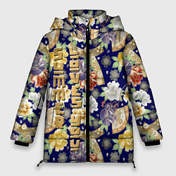 Женская зимняя 3D-куртка с капюшоном с принтом Пионы Японии Summer Loves You, цвет: 3D-черный, артикул: 10250067106071 — фото 1