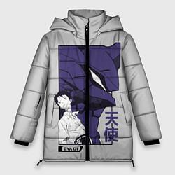 Женская зимняя 3D-куртка с капюшоном с принтом Синдзи Икари, цвет: 3D-черный, артикул: 10262043306071 — фото 1