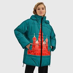 Женская зимняя 3D-куртка с капюшоном с принтом Москва, цвет: 3D-черный, артикул: 10268434306071 — фото 2