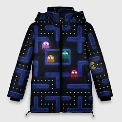 Женская зимняя 3D-куртка с капюшоном с принтом Pacman, цвет: 3D-черный, артикул: 10268708306071 — фото 1