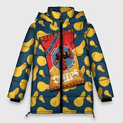 Женская зимняя 3D-куртка с капюшоном с принтом Deadpool чипсы, цвет: 3D-черный, артикул: 10275016306071 — фото 1