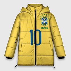 Женская зимняя 3D-куртка с капюшоном с принтом СБОРНАЯ БРАЗИЛИИ ПЕЛЕ, цвет: 3D-черный, артикул: 10279774906071 — фото 1