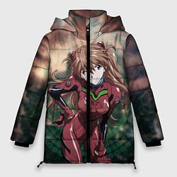 Женская зимняя 3D-куртка с капюшоном с принтом Аска Евангелион, цвет: 3D-черный, артикул: 10282582506071 — фото 1
