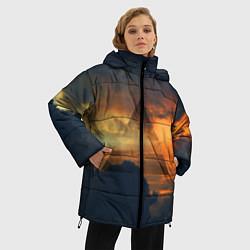 Женская зимняя 3D-куртка с капюшоном с принтом 30 seconds to mars, цвет: 3D-черный, артикул: 10063910606071 — фото 2