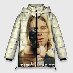 Куртка зимняя женская Кобейн с пистолетом цвета 3D-черный — фото 1