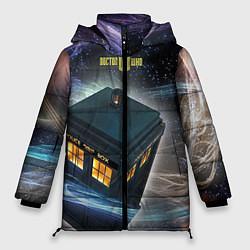 Женская зимняя 3D-куртка с капюшоном с принтом Police Box, цвет: 3D-черный, артикул: 10065034706071 — фото 1