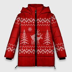 Куртка зимняя женская Олени под елками цвета 3D-черный — фото 1