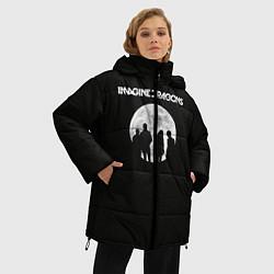 Женская зимняя 3D-куртка с капюшоном с принтом Imagine Dragons: Moon, цвет: 3D-черный, артикул: 10078925606071 — фото 2