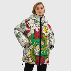Женская зимняя 3D-куртка с капюшоном с принтом Червовый король, цвет: 3D-черный, артикул: 10079042306071 — фото 2