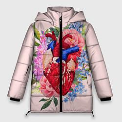 Женская зимняя 3D-куртка с капюшоном с принтом Цветочное сердце, цвет: 3D-черный, артикул: 10079271506071 — фото 1