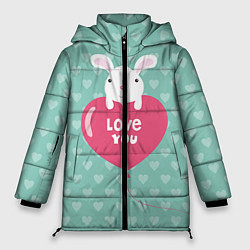 Женская зимняя 3D-куртка с капюшоном с принтом Rabbit: Love you, цвет: 3D-черный, артикул: 10081990706071 — фото 1