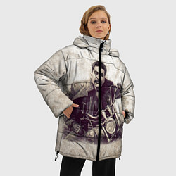 Женская зимняя 3D-куртка с капюшоном с принтом Сталин байкер, цвет: 3D-черный, артикул: 10082408006071 — фото 2