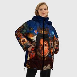 Куртка зимняя женская Michael Jackson: Pop King цвета 3D-черный — фото 2
