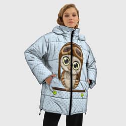 Женская зимняя 3D-куртка с капюшоном с принтом Сова пилот, цвет: 3D-черный, артикул: 10086920906071 — фото 2