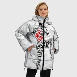 Женская зимняя 3D-куртка с капюшоном с принтом Muay thai Words, цвет: 3D-черный, артикул: 10089320606071 — фото 2