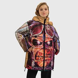 Женская зимняя 3D-куртка с капюшоном с принтом Iron Maiden: Dead Rider, цвет: 3D-черный, артикул: 10089879806071 — фото 2