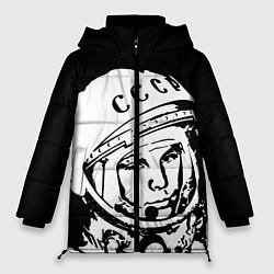 Женская зимняя 3D-куртка с капюшоном с принтом Гагарин, цвет: 3D-черный, артикул: 10091681306071 — фото 1